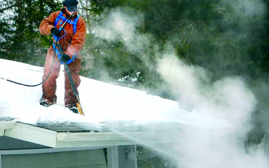 winter water damage roof cleanup
